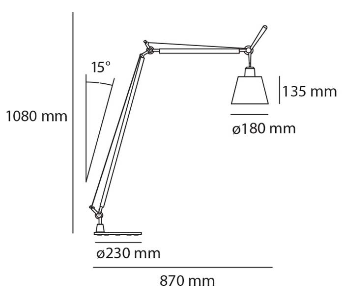 Artemide Tolomeo Reading With Shade Floor Lamp