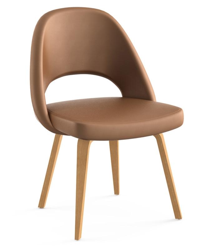 knoll eero saarinen executive armless chair wood legs and glides