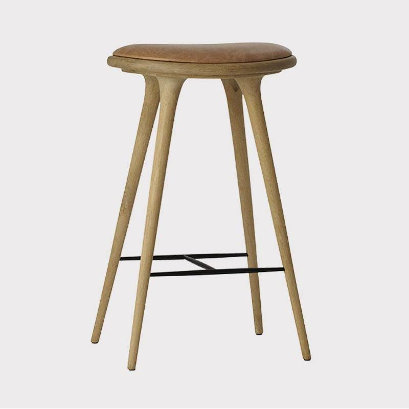 Mater Premium Edition Stool with Natural Leather Seat, Natural Soap Oak
