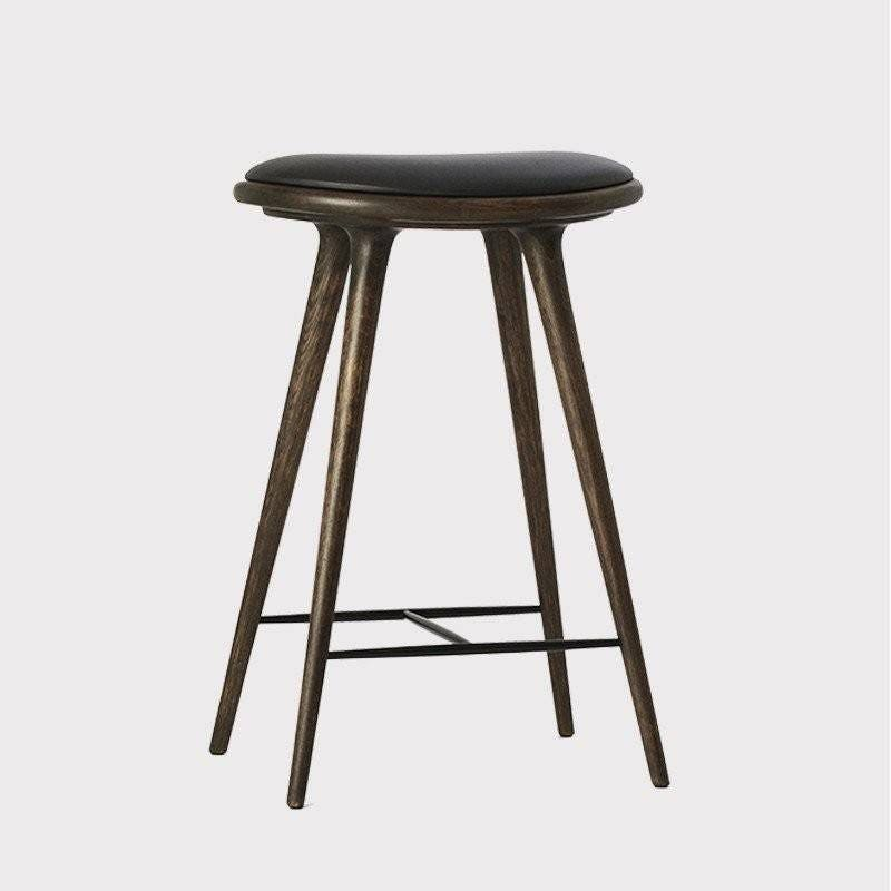 Mater Premium Edition Stool with Black Leather Seat, Sirka Grey Stained Oak