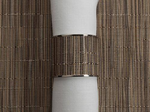 Chilewich Bamboo Wide Inlaid Stainless Steel Napkin Rings