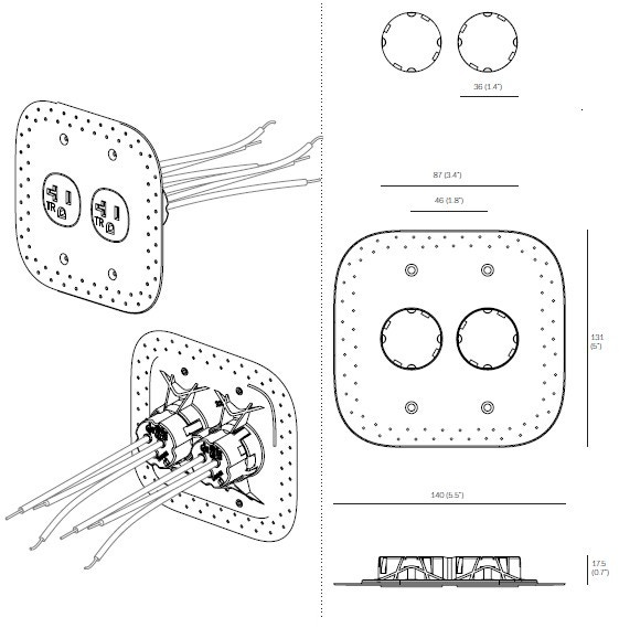Bocci 22.6.2 20A Drywall Outlet Assembly
