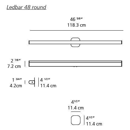Ron Rezek Ledbar Wall/Ceiling Lamp (Rounded Cross Section)