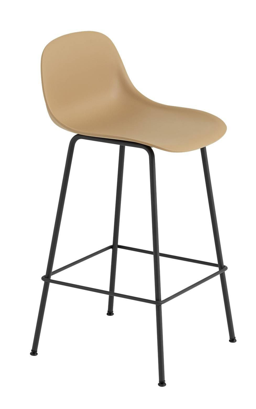 Muuto Fiber Bar Stool With Backrest Tube Base