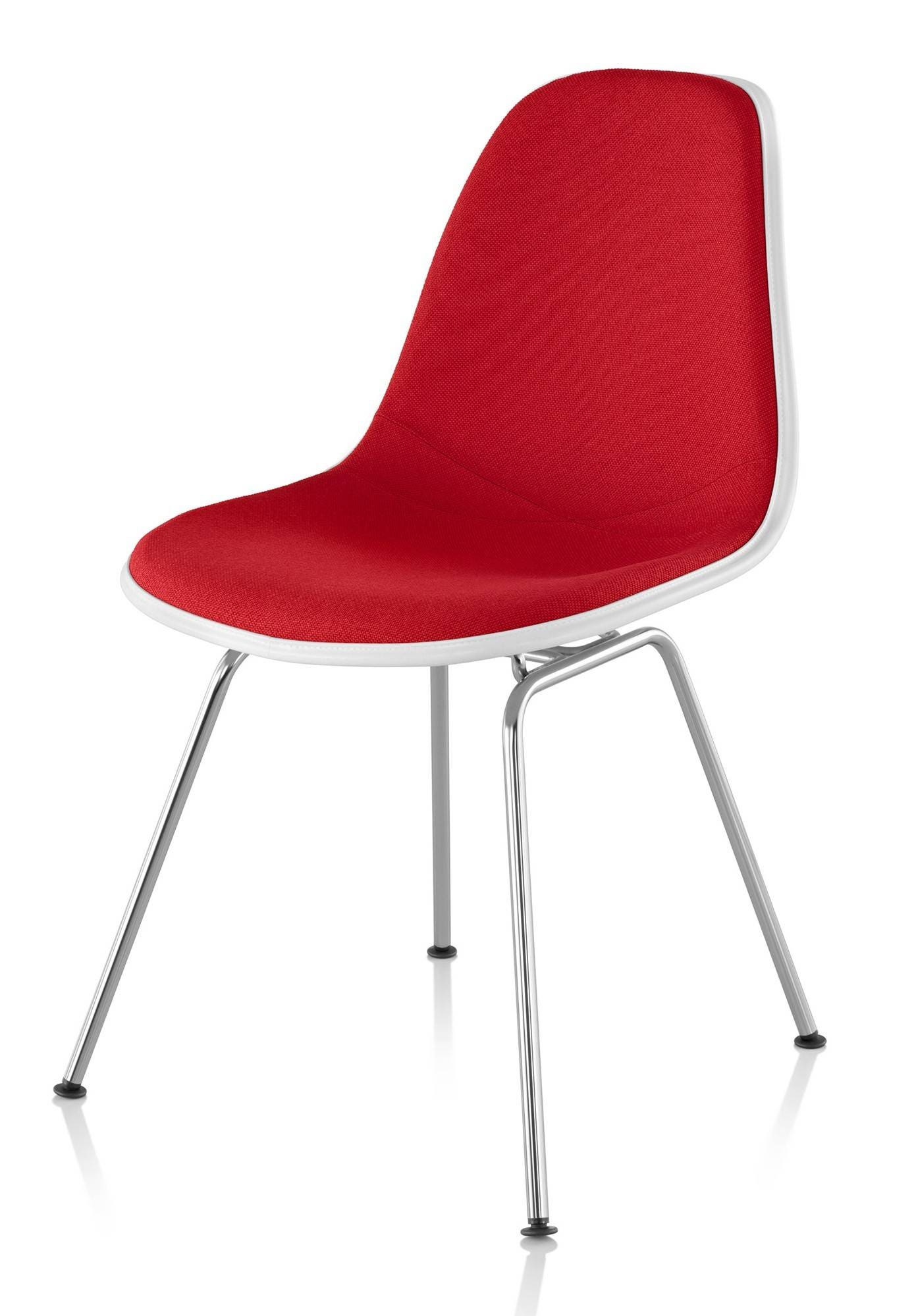 herman miller eames molded plastic side chair upholstered shell gr