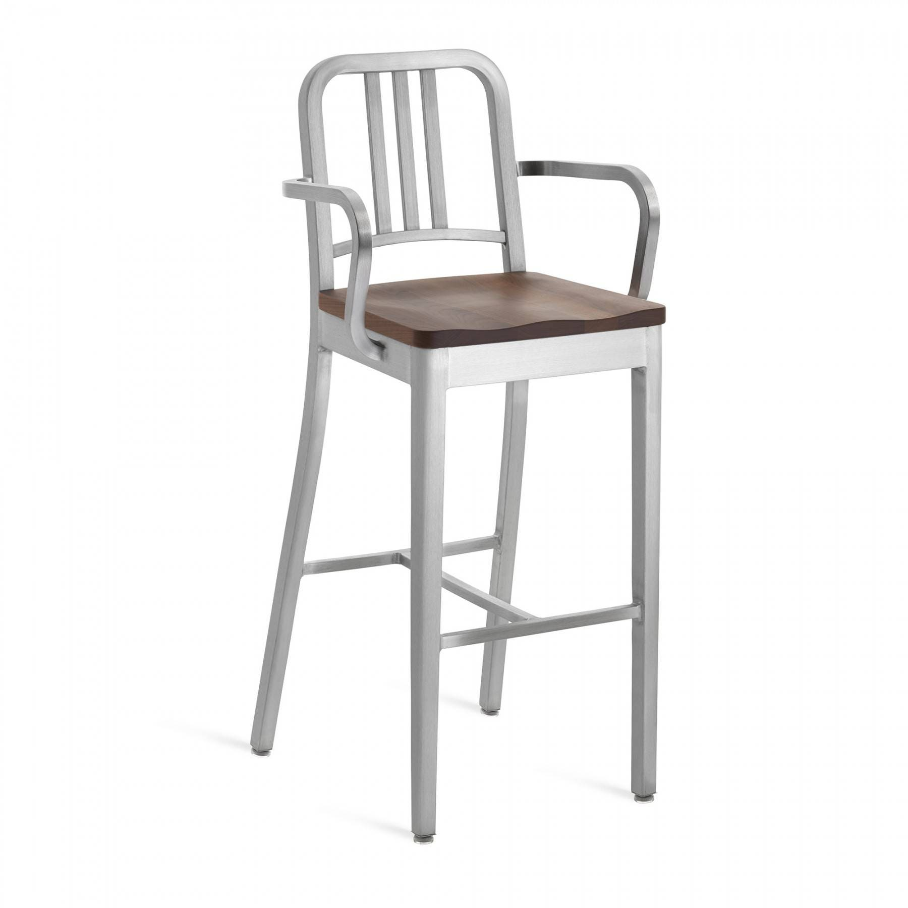 Emeco Navy Barstool With Natural Wood Seat With Arms Gr Shop Canada