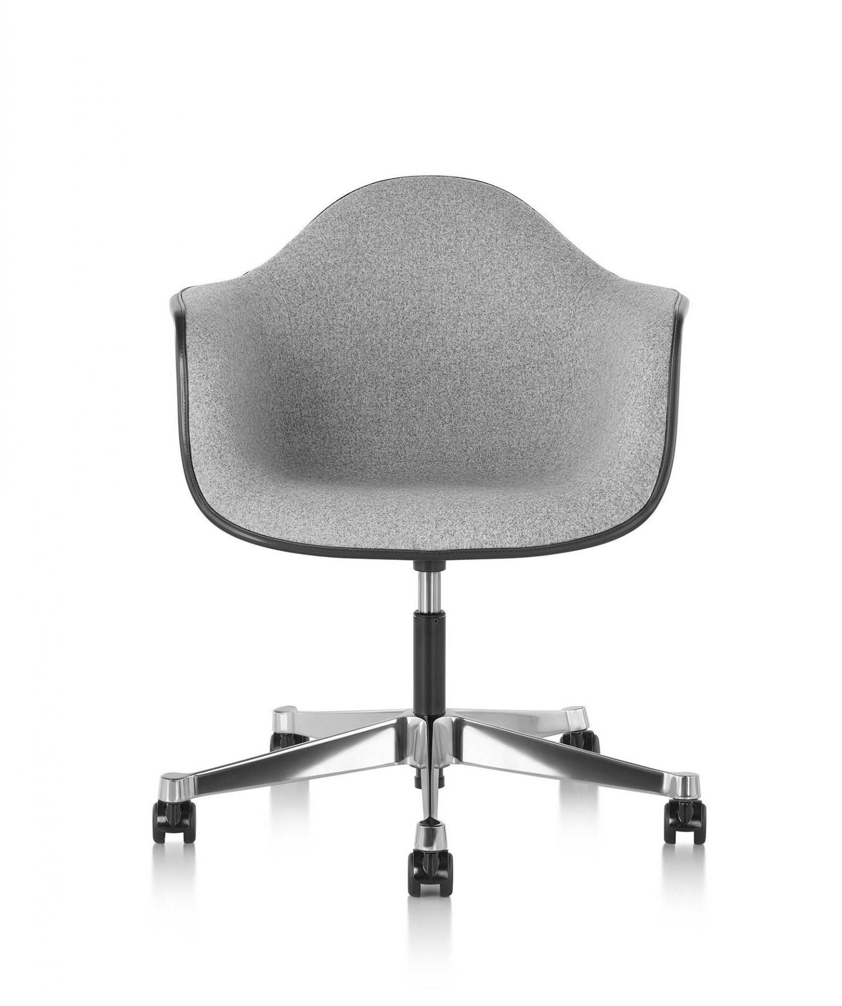 Herman Miller Eames® Molded Plastic Upholstered Task Armchair - GR on office cubicles, office computers, office stools, office desks, office tables, office pens, office trash can, office reception, office lobby, office footrest, office lamps, office furniture, office beds, office counters, office bookcases, office sofa sets, office kitchen, office accessories, office employees, office couch,