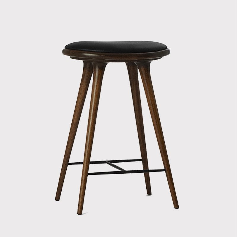 Mater Premium Edition Stool with Black Leather Seat, Dark Stained Oak