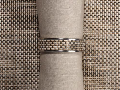 Chilewich Mini Basketweave Narrow Inlaid Stainless Steel Napkin Ring
