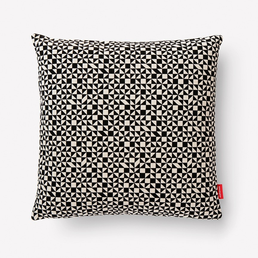 Maharam Checker Split Pillow, Black/White