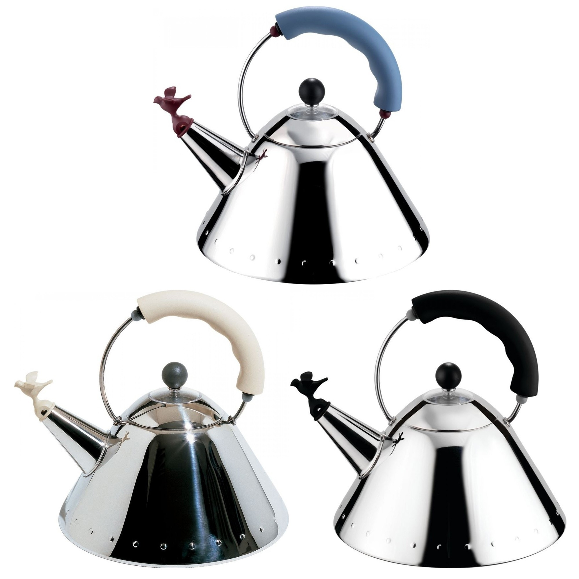 alessi michael graves kettle with small birdshaped whistle  gr  - alessi michael graves kettle with small birdshaped whistle
