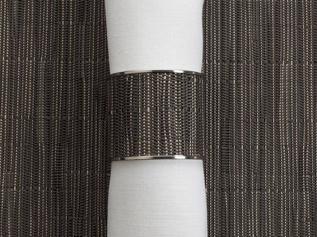 Chilewich Bamboo Wide Inlaid Stainless Steel Napkin Ring