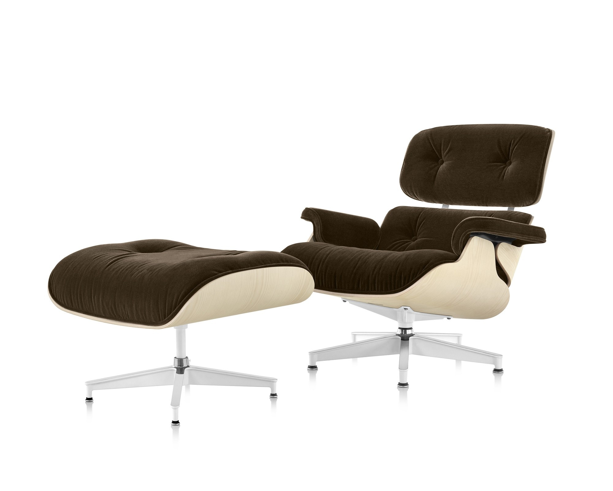 Herman Miller Eames® Lounge Chair And Ottoman White Ash In Mohair Supreme