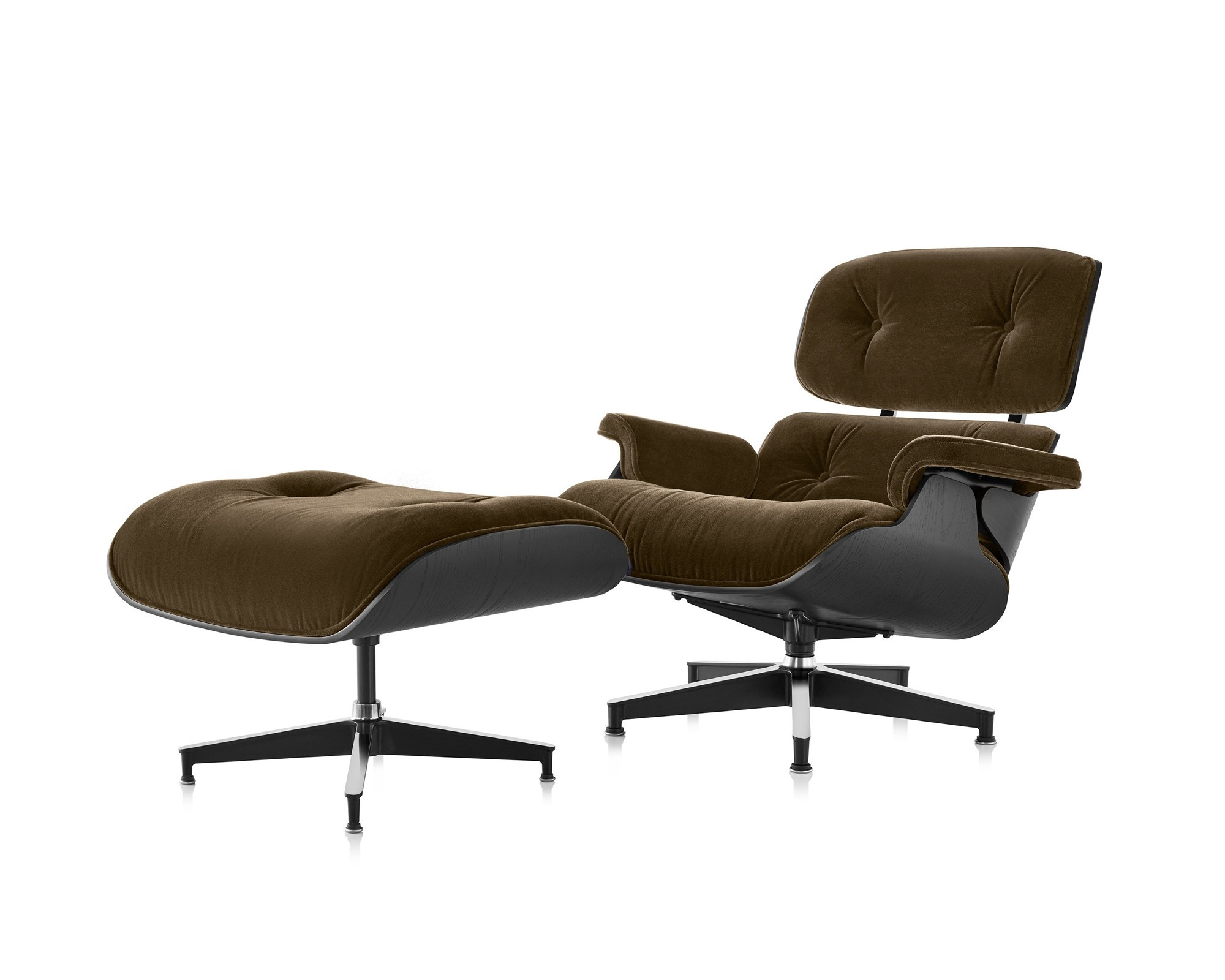 Herman Miller Eames® Lounge Chair and Ottoman Ebony in Mohair Supreme