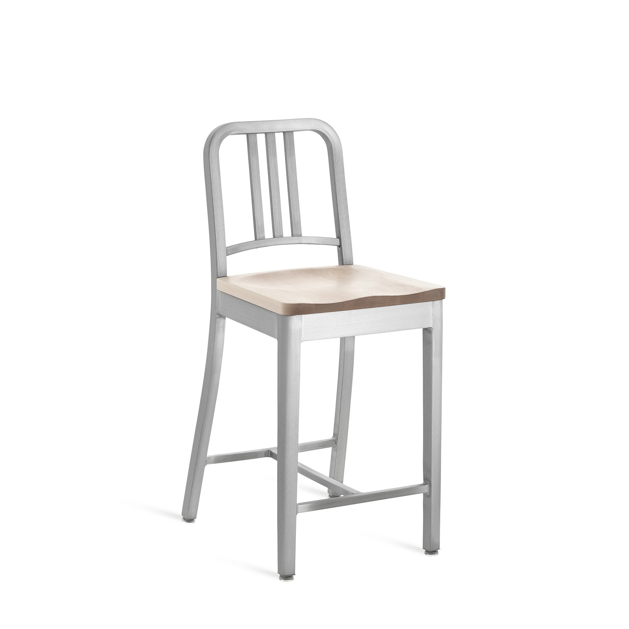 Emeco Navy Counter Stool With Natural Wood Seat
