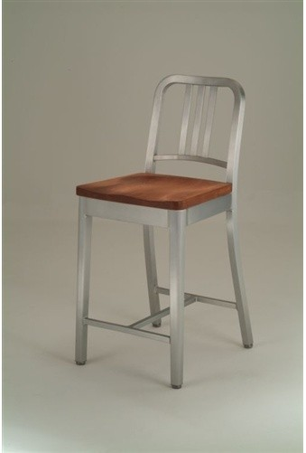 Emeco Navy Counter Stool With Natural Wood Seat Gr Shop