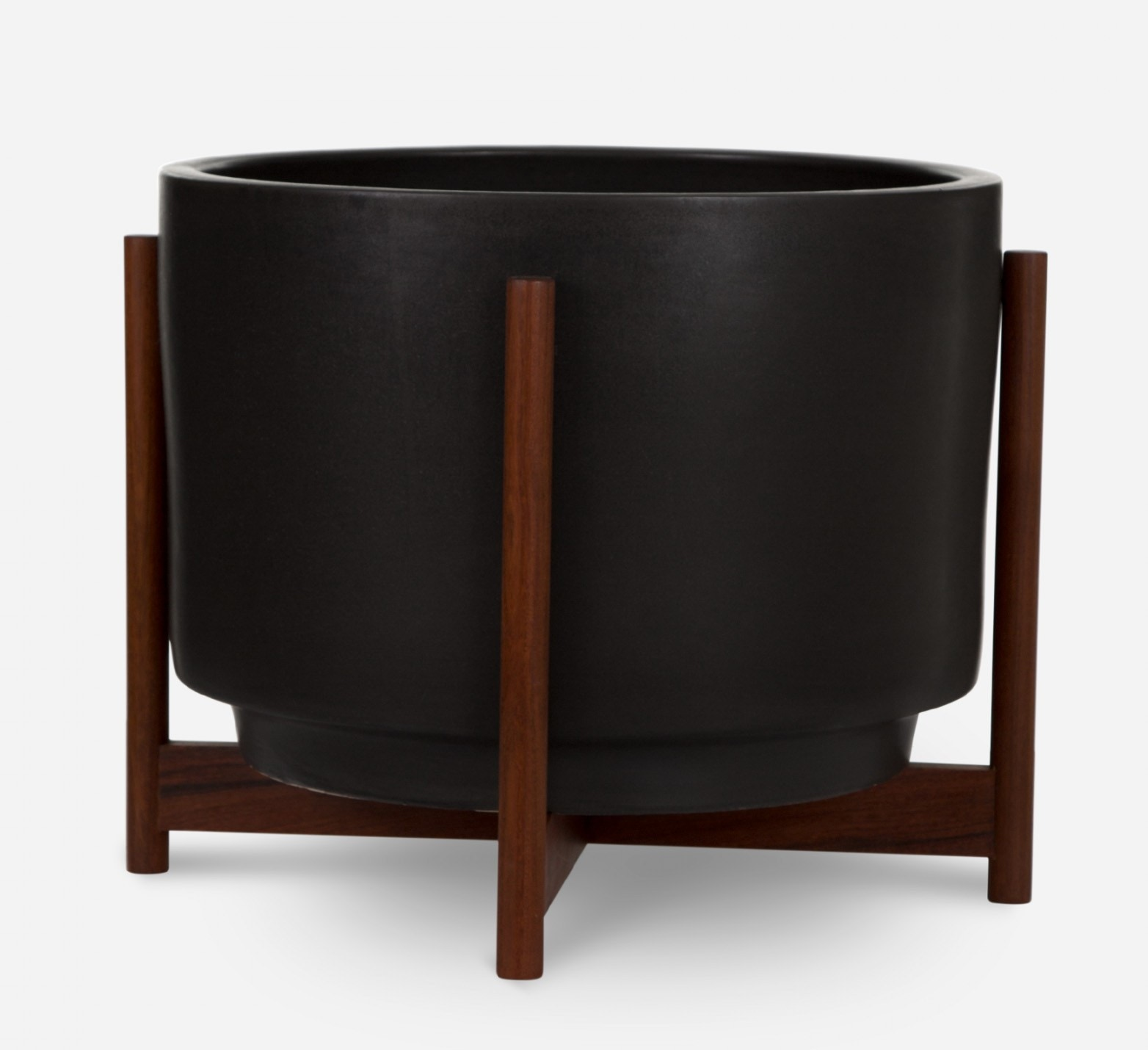Modernica Case Study® Ceramics Raised Medium High Pan with Wood Stand (Planter)