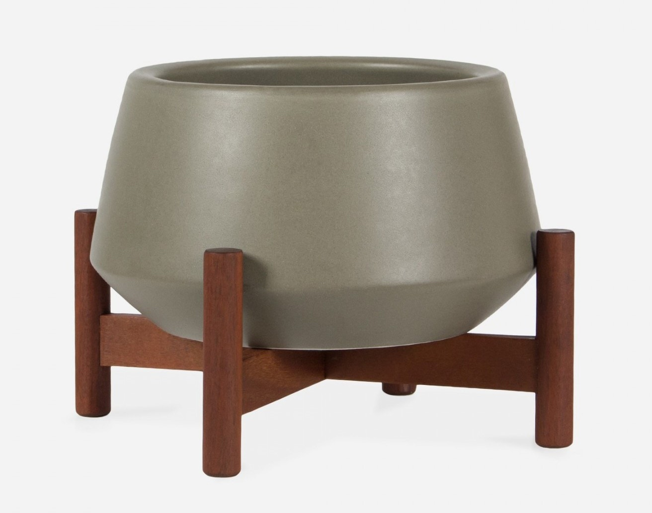 Modernica Case Study® Ceramics Table Top Diamond With Wood Stand (Planter)