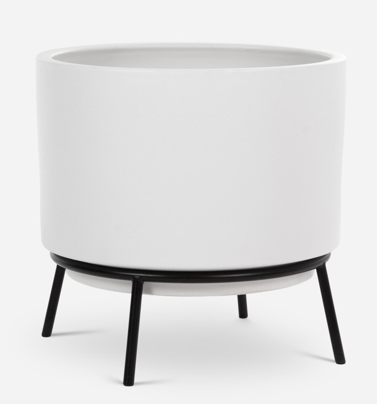 Modernica Case Study® Ceramics Raised Medium High Pan with Cradle Stand (Planter)