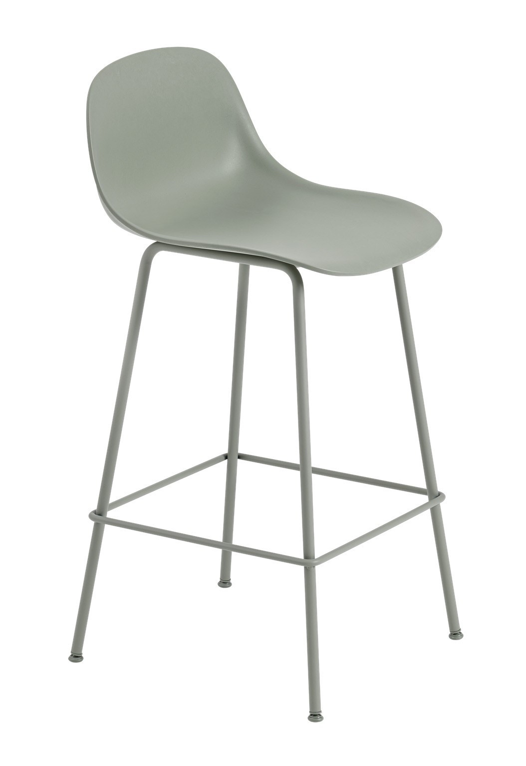 Muuto Fiber Bar Stool with Backrest - Tube Base