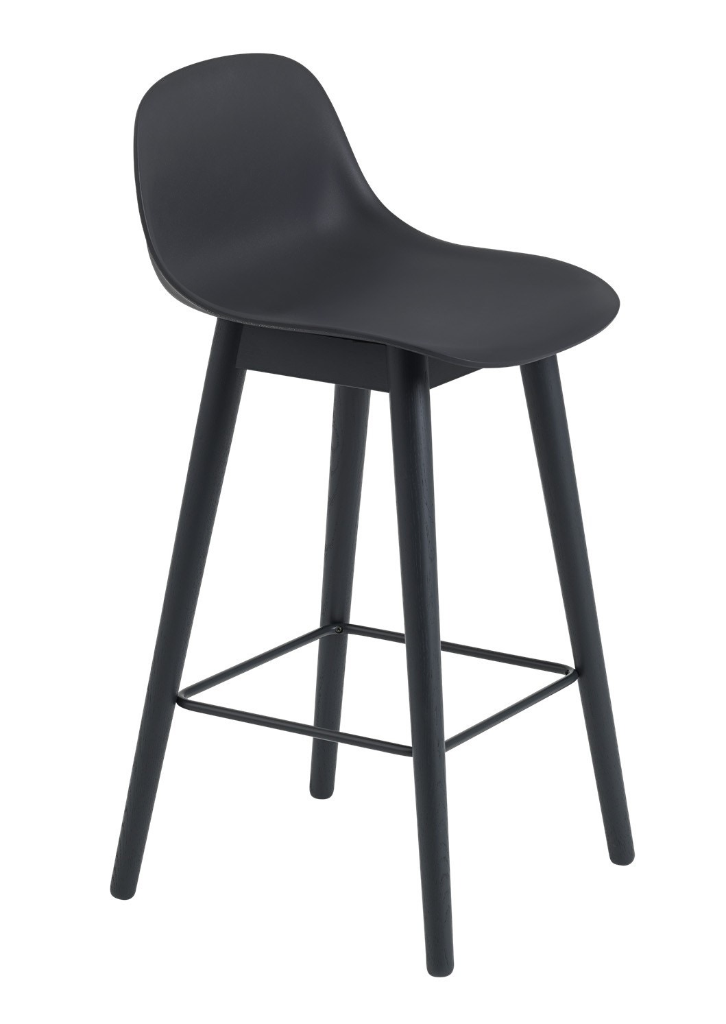 Muuto Fiber Bar Stool With Backrest Wood Base Gr Shop
