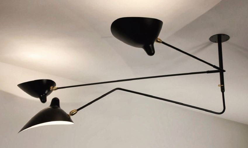 Serge Mouille Ceiling Lamp 2 Still Arms 1 Curved Rotating Arm