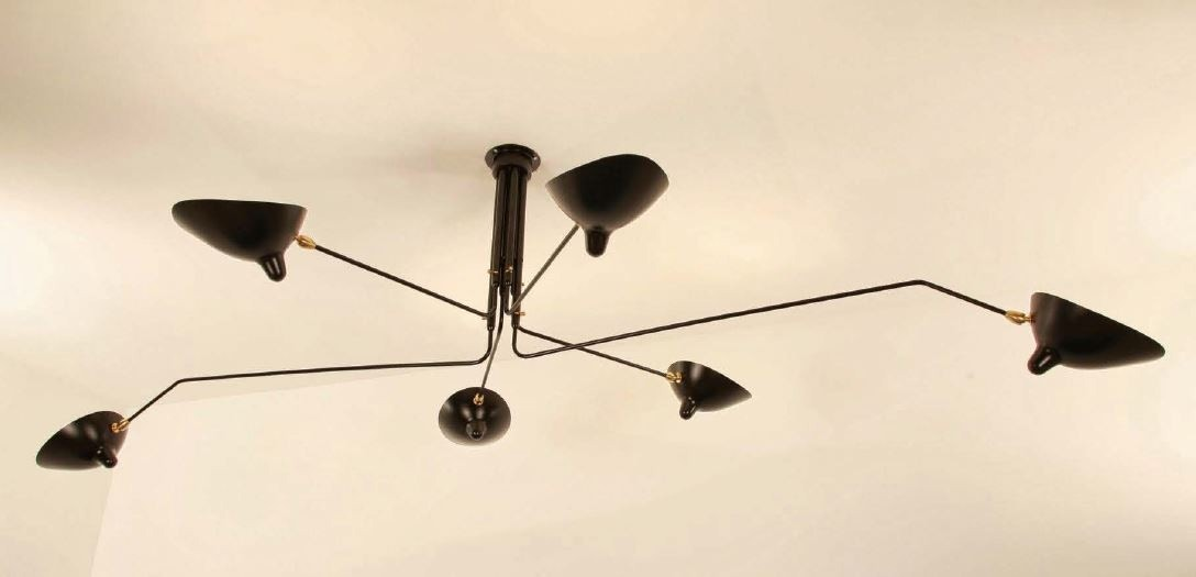 Serge Mouille Ceiling Lamp - 6 Rotating Arms