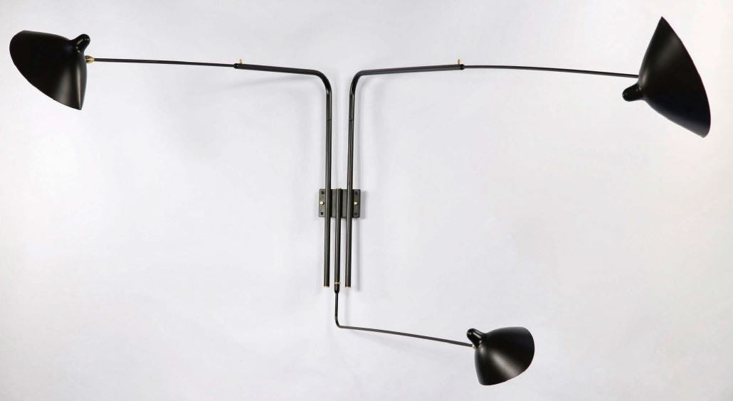 Serge Mouille Large Wall Lamp - 3 Rotating Straight Arms