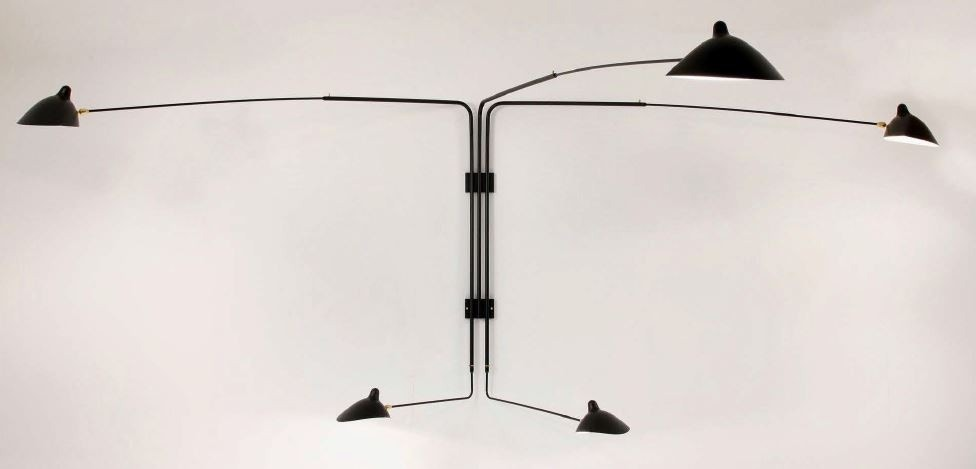 Serge Mouille Large Wall Lamp - 5 Rotating Straight Arms