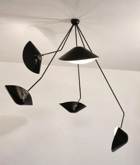 Serge Mouille Spider Ceiling Lamp - 5 Still Angled Arms