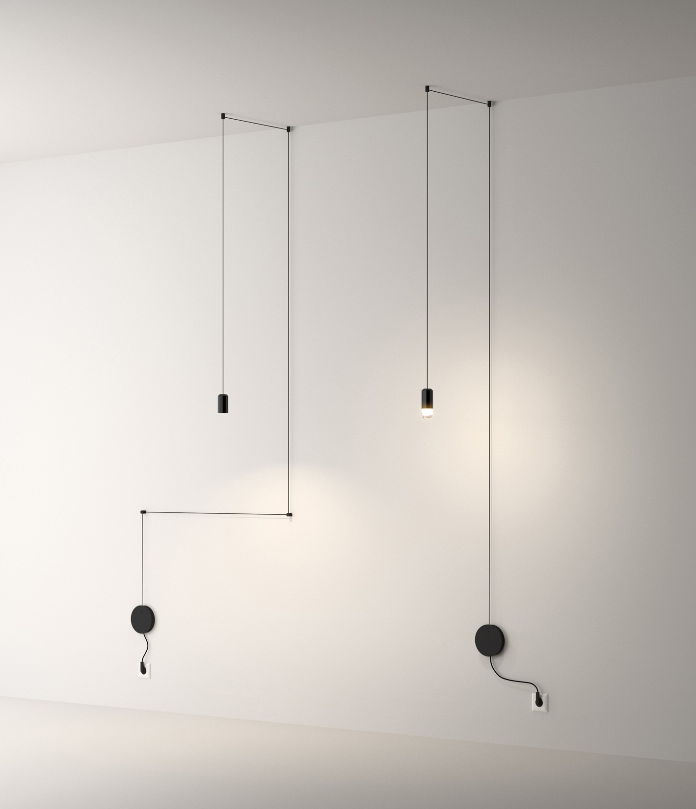 Vibia Wireflow 0347 0348 Free Form Wall Mount Pendant Lamp