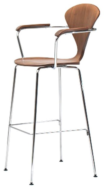 Cherner Stool - Chrome Metal Base with Arms