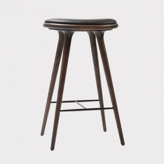 Mater Premium Edition Stool with Black Leather Seat, Sirka Grey Oak
