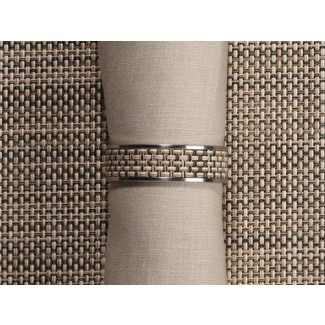 Chilewich Mini Basketweave Wide Inlaid Stainless Steel Napkin Rings