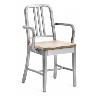 Emeco Navy Arm Chair With Natural Wood Seat