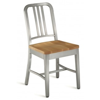 Emeco Navy Chair With Natural Wood Seat