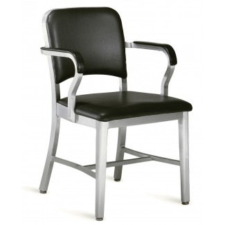 Emeco Navy Upholstered Arm Chair