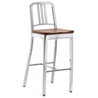 Emeco Navy Barstool With Natural Wood Seat