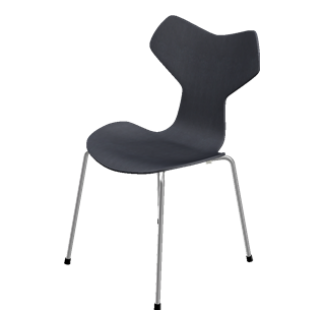 Fritz Hansen Laminated Grand Prix Chair with Chromed Base