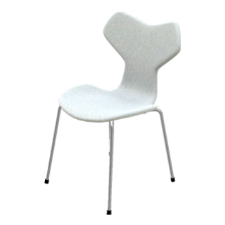 Fritz Hansen Fully Upholstered Grand Prix Chair with Chromed Base