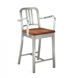 Emeco Navy Barstool With Natural Wood Seat with Arms