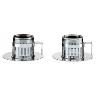 Alessi Set Of Two Mocha Cups With Saucers Ardt Set