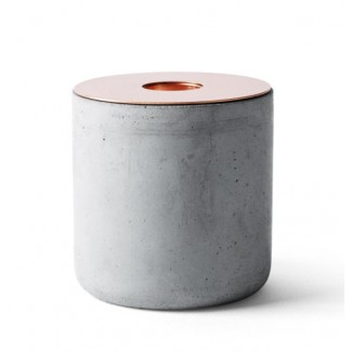 CLEARANCE - Menu Chunk of Concrete Candleholder, Copper Top, Large Size
