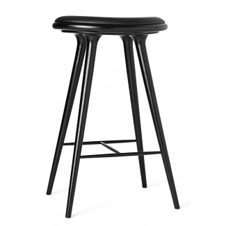 Mater Premium Edition Stool with Black Leather Seat, Black Stained Oak
