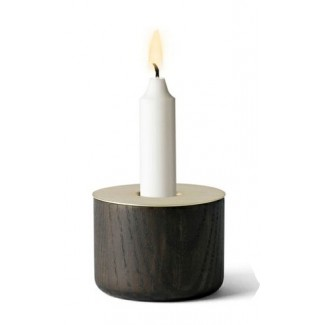 CLEARANCE - Menu Chunk of Wood Candleholder, Brass Top, Medium Size