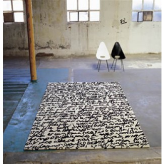 Nani Marquina Black on White Manuscrit (Manuscript) Rug
