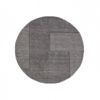 Tom Dixon Stripe Rug Round Black / White
