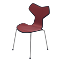 Fritz Hansen Grand Prix Chair with Chromed Base (Front Upholstered)