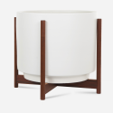 Modernica Case Study® Ceramics Raised Large High Pan with Wood Stand (Planter)