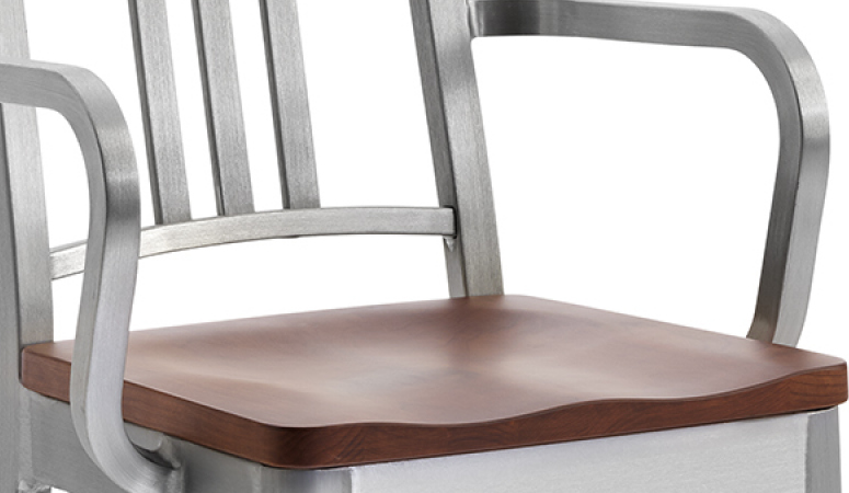 Emeco Navy Counter Stool With Natural Wood Seat And Arms